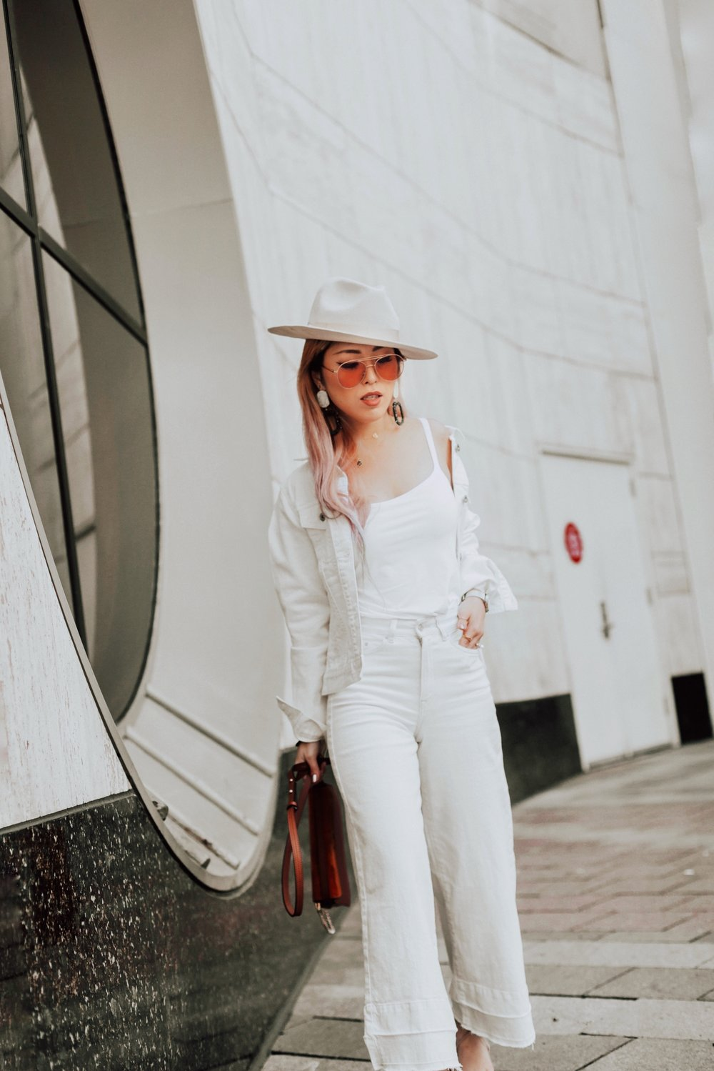 Uniqlo AIRism Bratop_Uniqlo White Denim Jacket_H&M White Cropped flare jeans-Lack Of color Ivory Bone Fedora_ASOS Marble Drop Earrings_Chloe Blown Small Faye Leather Shoulder Bag-Zero UV Sunglasses-Nude Lace Up Heels-Aikas Love Closet-Seattle Fashion Blogger-Japanese-pink hair-petite 3