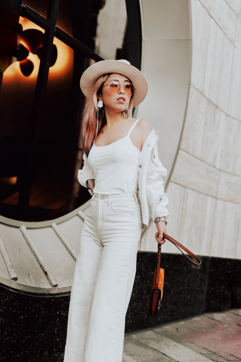 Uniqlo AIRism Bratop_Uniqlo White Denim Jacket_H&M White Cropped flare jeans-Lack Of color Ivory Bone Fedora_ASOS Marble Drop Earrings_Chloe Blown Small Faye Leather Shoulder Bag-Zero UV Sunglasses-Nude Lace Up Heels-Aikas Love Closet-Seattle Fashion Blogger-Japanese-pink hair-petite 8