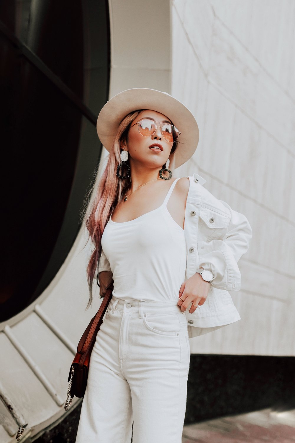 Uniqlo AIRism Bratop_Uniqlo White Denim Jacket_H&M White Cropped flare jeans-Lack Of color Ivory Bone Fedora_ASOS Marble Drop Earrings_Chloe Blown Small Faye Leather Shoulder Bag-Zero UV Sunglasses-Nude Lace Up Heels-Aikas Love Closet-Seattle Fashion Blogger-Japanese-pink hair-petite 10