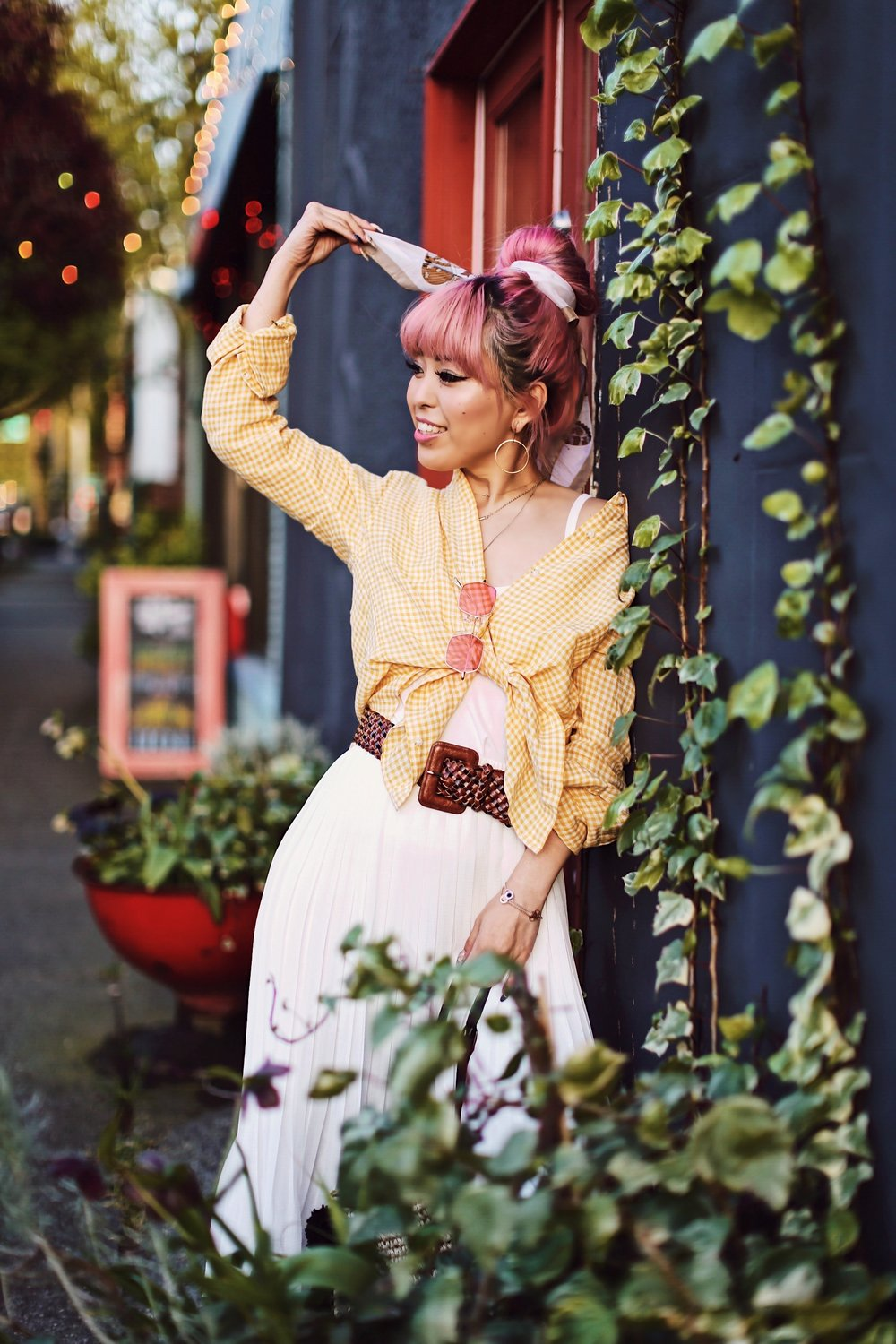 Uniqlo yellow Linen gingham shirt-Uniqlo White pleated chiffon midi skirt-Uniqlo Airism brat-pink tinted sunglasses ZERO UV-She in Pom pom Straw bucket bag-Vintage scarf bun hair style-Steve Madden Belt-Jane and the shoe denim oxford platforms-Aika's Love Closet-seattle fashion style blogger-Japanese-pink hair-smiling-spring fashion 5