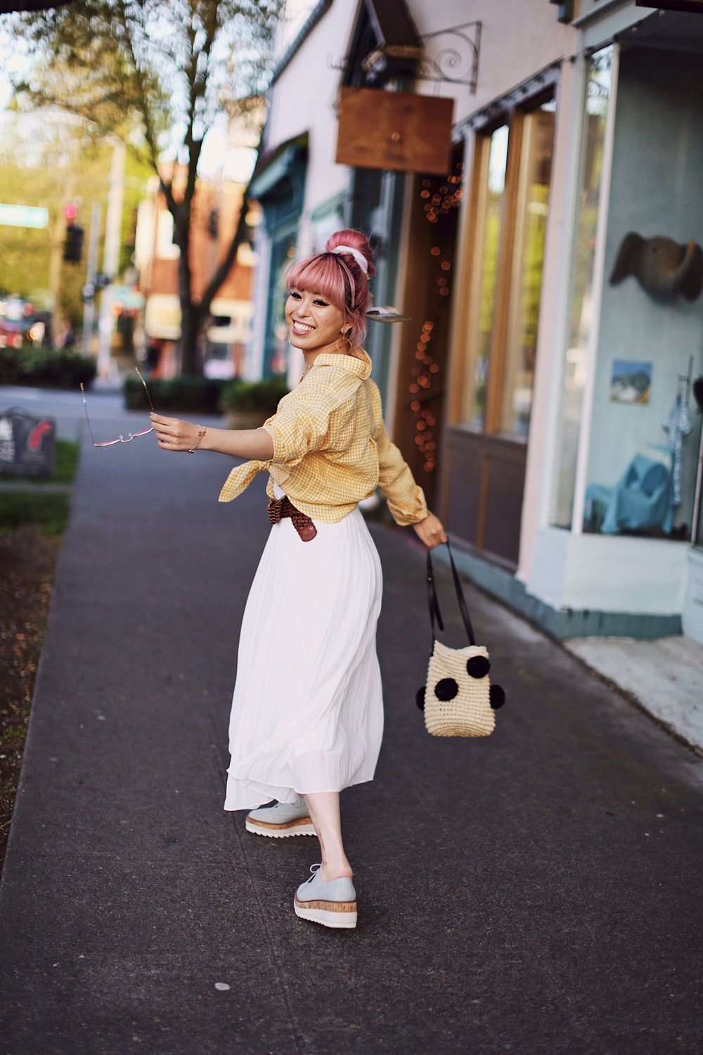 Uniqlo yellow Linen gingham shirt-Uniqlo White pleated chiffon midi skirt-Uniqlo Airism brat-pink tinted sunglasses ZERO UV-She in Pom pom Straw bucket bag-Vintage scarf bun hair style-Steve Madden Belt-Jane and the shoe denim oxford platforms-Aika's Love Closet-seattle fashion style blogger-Japanese-pink hair-smiling-spring fashion 14