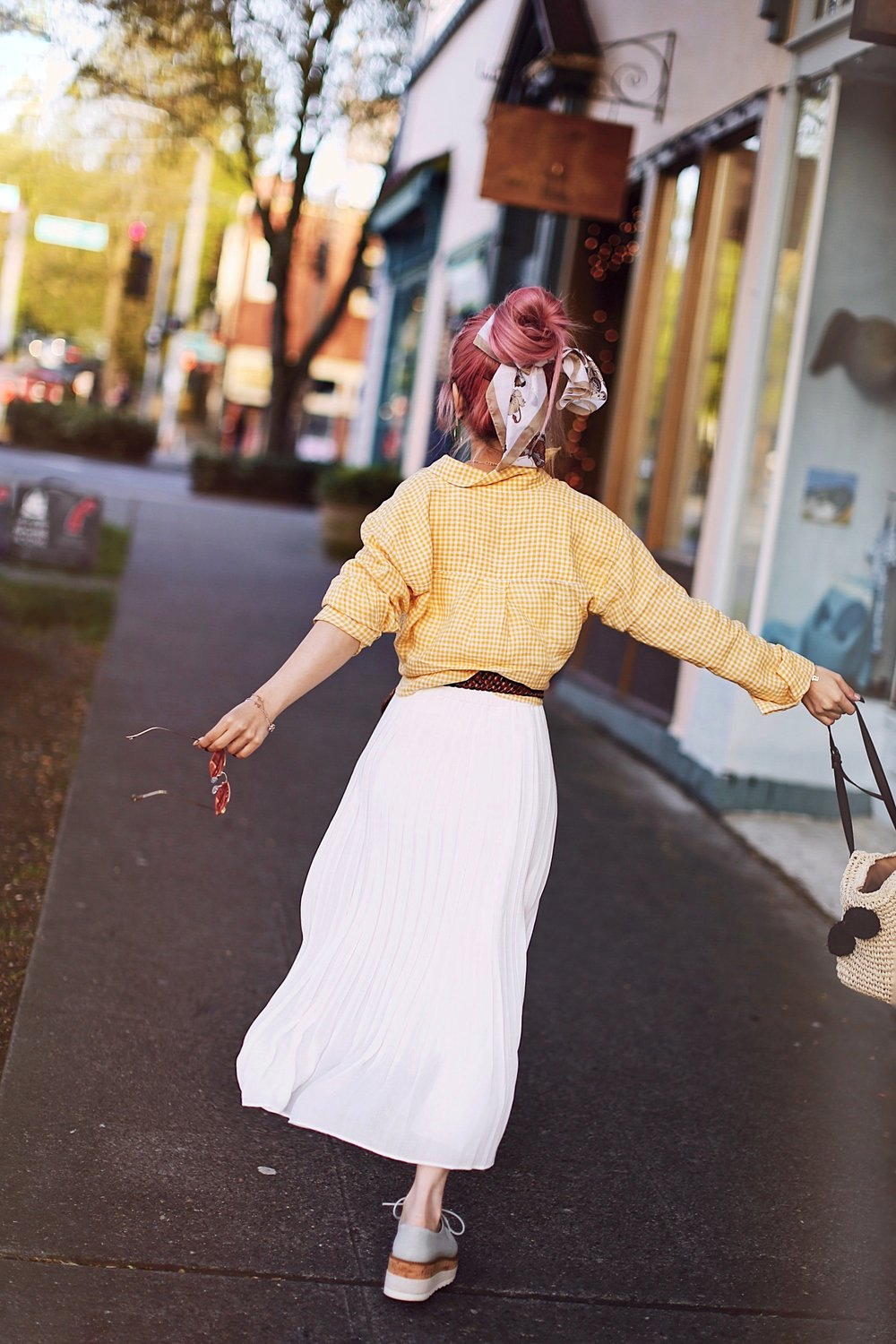 Uniqlo yellow Linen gingham shirt-Uniqlo White pleated chiffon midi skirt-Uniqlo Airism brat-pink tinted sunglasses ZERO UV-She in Pom pom Straw bucket bag-Vintage scarf bun hair style-Steve Madden Belt-Jane and the shoe denim oxford platforms-Aika's Love Closet-seattle fashion style blogger-Japanese-pink hair-smiling-spring fashion 20