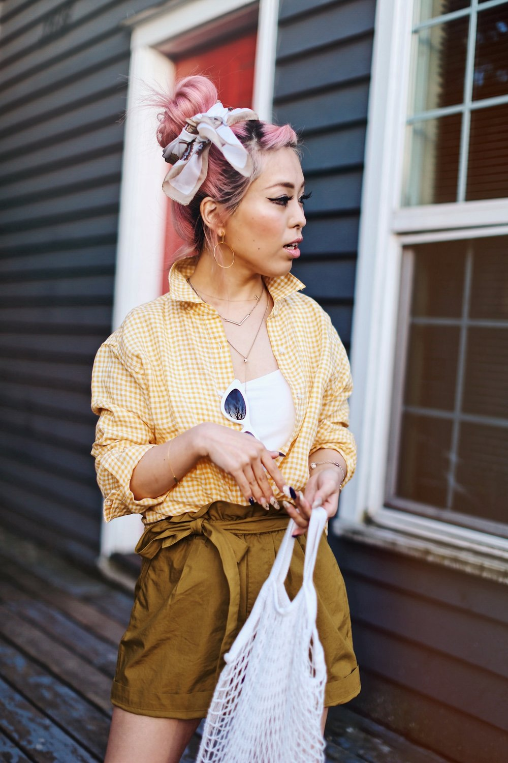 Uniqlo yellow Linen gingham shirt-Uniqlo olive paperbag shorts-Uniqlo Airism bratop-White Cat eye sunglasses ZERO UV- Pipe + Row White net bag-Vintage scarf bun hairstyle-ALDO Embroidered Nude mules-Aika's Love Closet-seattle fashion style blogger-Japanese-pink hair-smiling-spring fashion 3