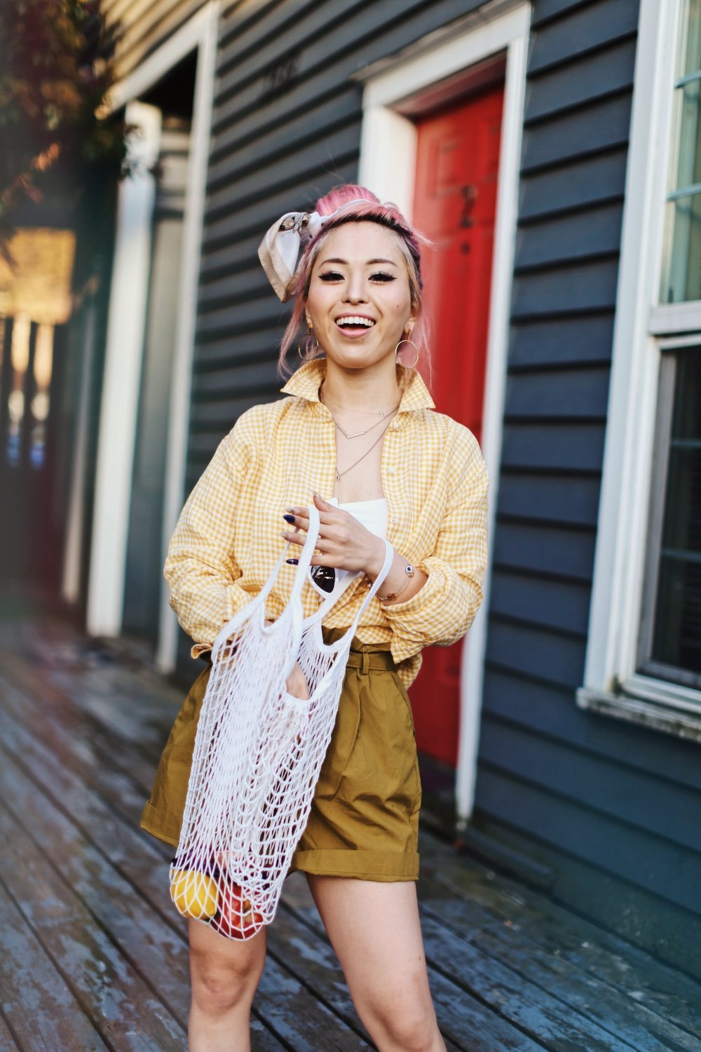 Uniqlo yellow Linen gingham shirt-Uniqlo olive paperbag shorts-Uniqlo Airism bratop-White Cat eye sunglasses ZERO UV- Pipe + Row White net bag-Vintage scarf bun hairstyle-ALDO Embroidered Nude mules-Aika's Love Closet-seattle fashion style blogger-Japanese-pink hair-smiling-spring fashion 9