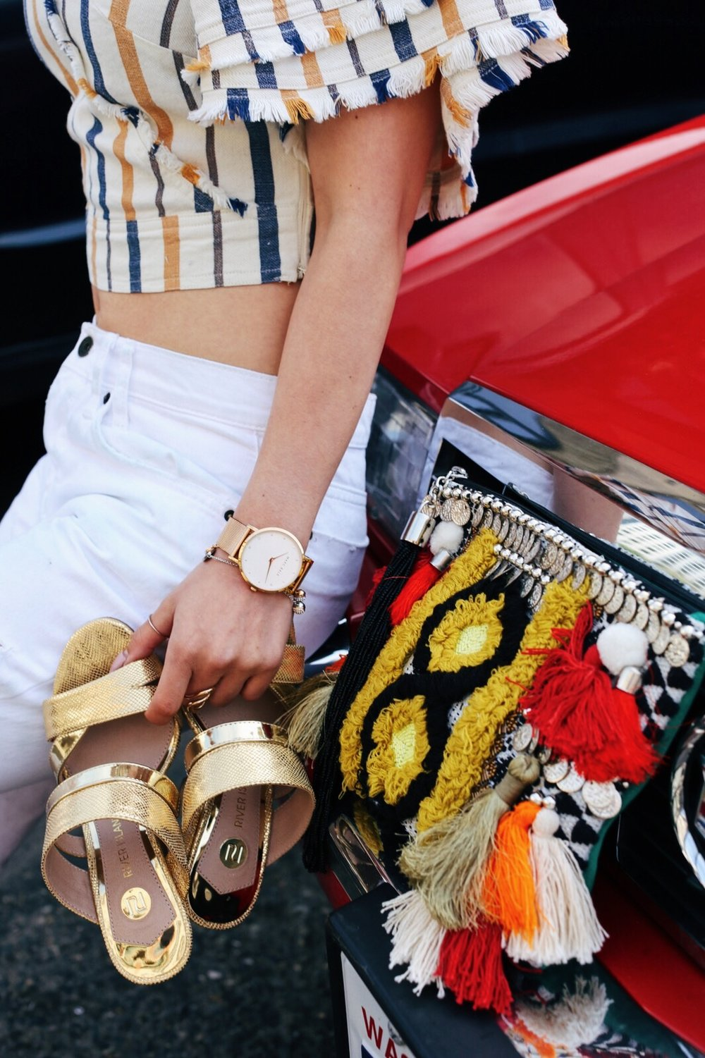 River Island Yellow stripe denim wrap frayed trim crop top-Zara White distressed boyfriend jeans-River Island Black embellished jacquard pouch clutch bag-Clear plastic glitter hoop earrings-Gold open toe cone heel mule-ZeroUV Retro Triangle Cat Eye Sunglasses-Aikas Love Closet-Seattle Fashion Blogger-Japanese-Pink Hair-petite fashion-street snap 3