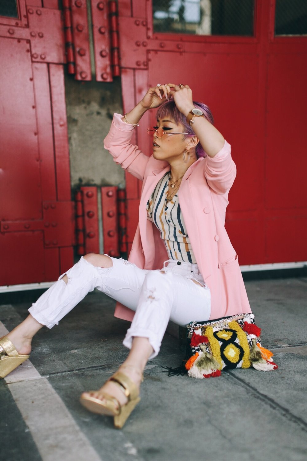 River Island Pink double breasted style blazer-River Island Yellow stripe denim wrap frayed trim crop top-Zara White distressed boyfriend jeans-River Island Black embellished jacquard pouch clutch bag-Clear plastic glitter hoop earrings-Gold open toe cone heel mule-ZeroUV Retro Triangle Cat Eye Sunglasses-Aikas Love Closet-Seattle Fashion Blogger-Japanese-Pink Hair-petite fashion-street snap 5