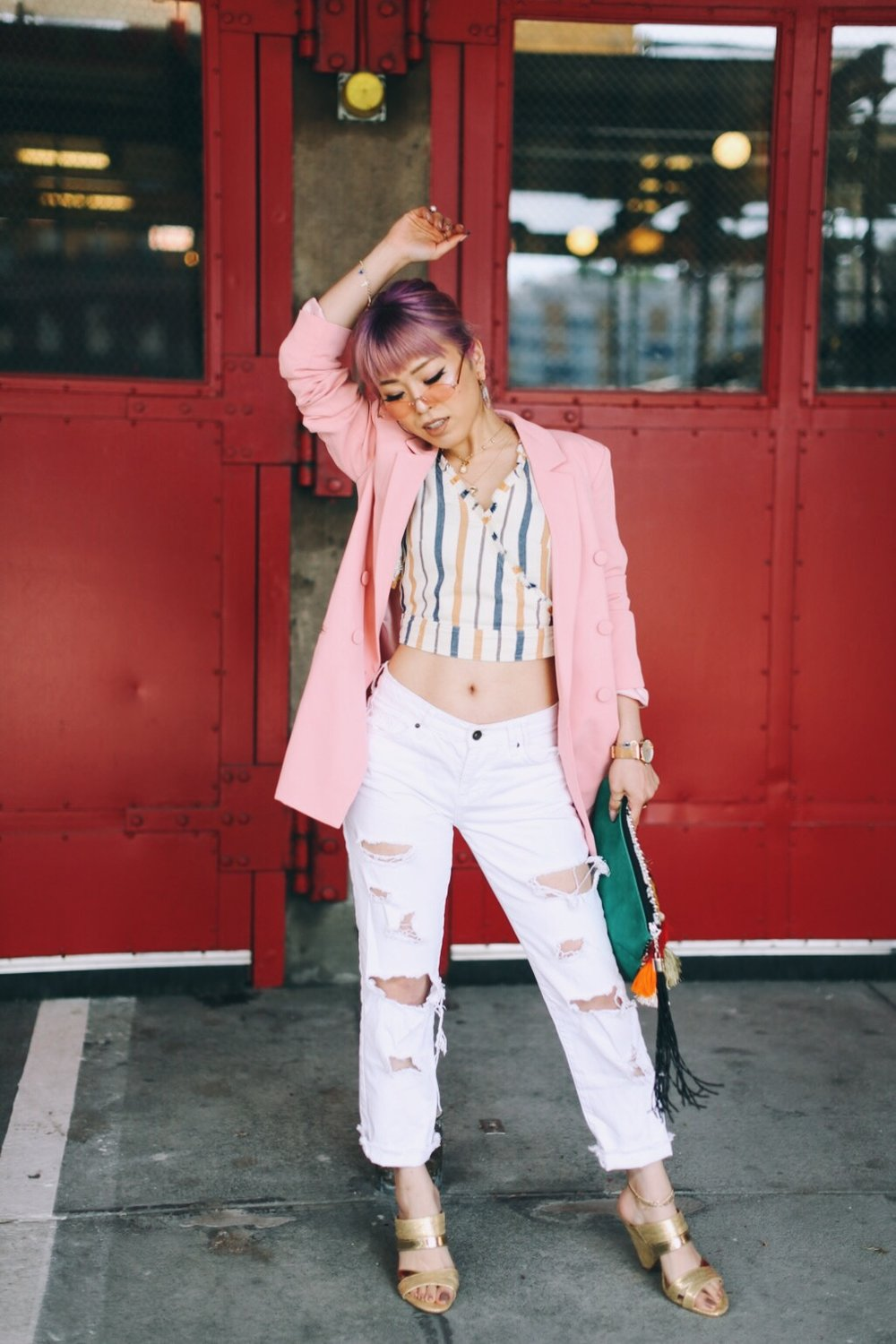 River Island Pink double breasted style blazer-River Island Yellow stripe denim wrap frayed trim crop top-Zara White distressed boyfriend jeans-River Island Black embellished jacquard pouch clutch bag-Clear plastic glitter hoop earrings-Gold open toe cone heel mule-ZeroUV Retro Triangle Cat Eye Sunglasses-Aikas Love Closet-Seattle Fashion Blogger-Japanese-Pink Hair-petite fashion-street snap 6