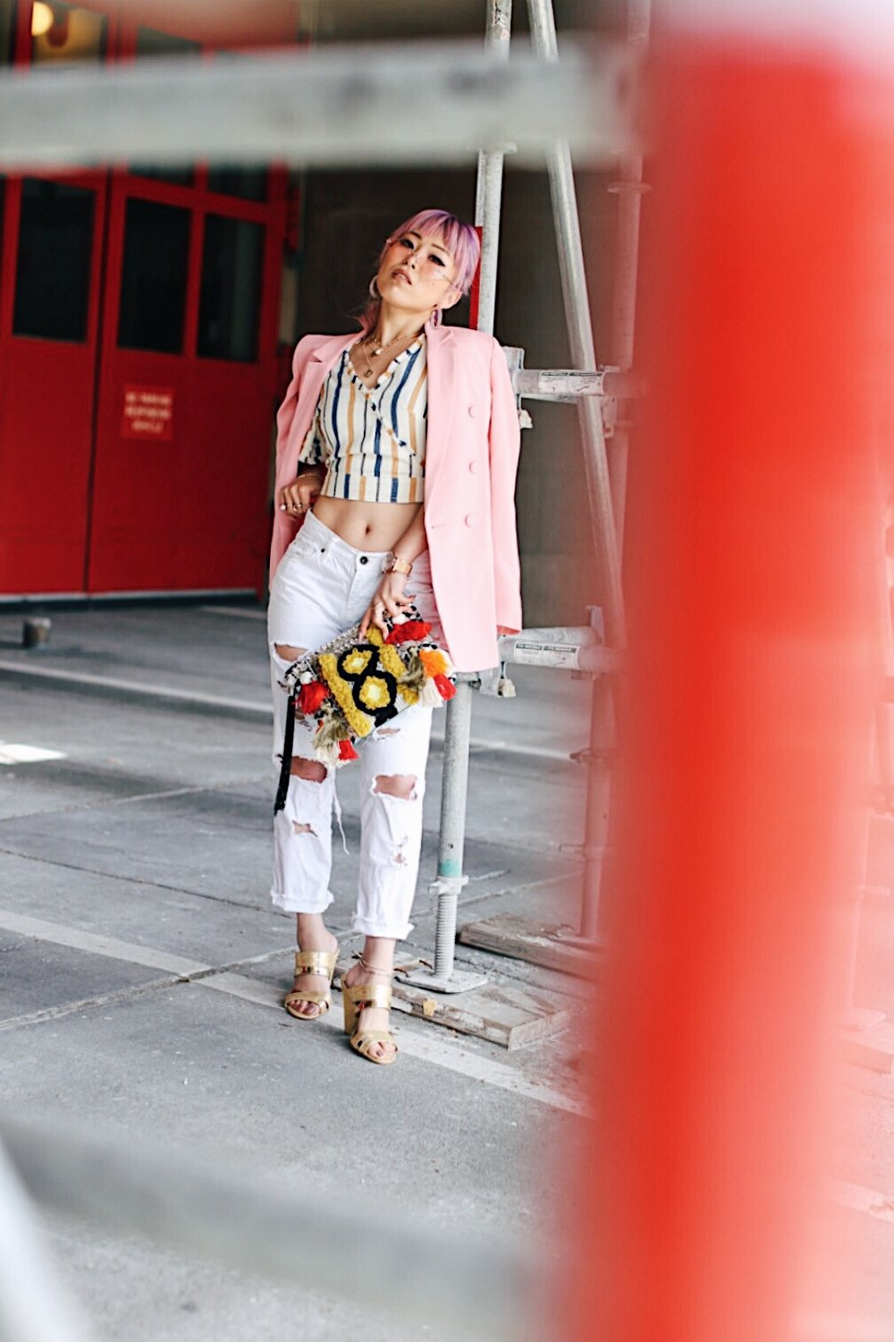 River Island Pink double breasted style blazer-River Island Yellow stripe denim wrap frayed trim crop top-Zara White distressed boyfriend jeans-River Island Black embellished jacquard pouch clutch bag-Clear plastic glitter hoop earrings-Gold open toe cone heel mule-ZeroUV Retro Triangle Cat Eye Sunglasses-Aikas Love Closet-Seattle Fashion Blogger-Japanese-Pink Hair-petite fashion-street snap 8
