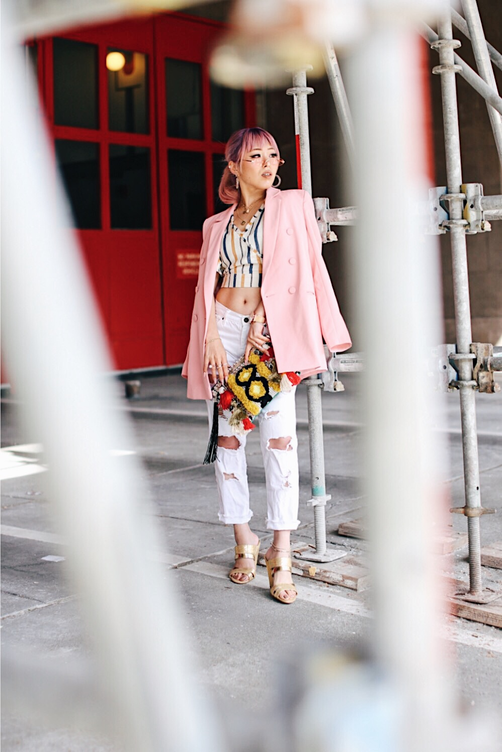 River Island Pink double breasted style blazer-River Island Yellow stripe denim wrap frayed trim crop top-Zara White distressed boyfriend jeans-River Island Black embellished jacquard pouch clutch bag-Clear plastic glitter hoop earrings-Gold open toe cone heel mule-ZeroUV Retro Triangle Cat Eye Sunglasses-Aikas Love Closet-Seattle Fashion Blogger-Japanese-Pink Hair-petite fashion-street snap 17