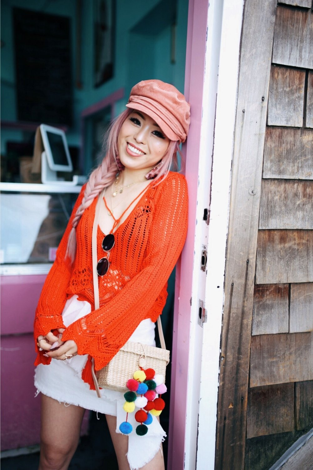 River Island Pink cord baker boy hat-Pink ombre tassel drop earrings-Red crotchet knit tassel crop top-White frill denim skort-White scallop block heel sandals-Shein Straw box bag with pom pom-Aikas Love Closet-Seattle Style Fashion Blogger-Japanese-Pink Hair-Side fishtail braid-summer style-smile 2