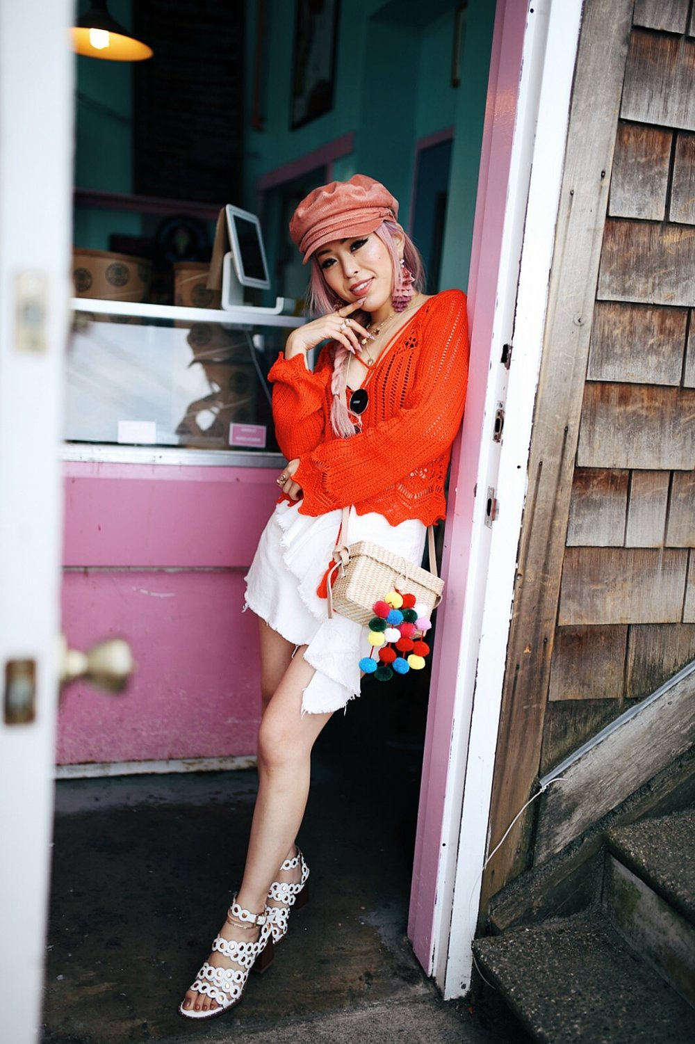 River Island Pink cord baker boy hat-Pink ombre tassel drop earrings-Red crotchet knit tassel crop top-White frill denim skort-White scallop block heel sandals-Shein Straw box bag with pom pom-Aikas Love Closet-Seattle Style Fashion Blogger-Japanese-Pink Hair-Side fishtail braid-summer style-smile 10