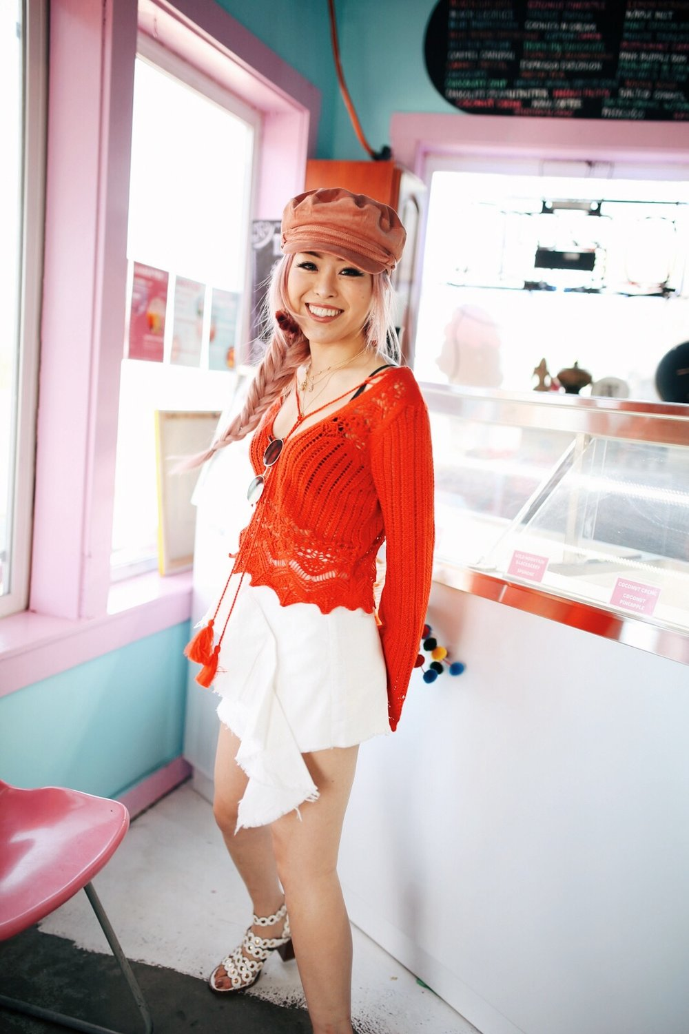 River Island Pink cord baker boy hat-Pink ombre tassel drop earrings-Red crotchet knit tassel crop top-White frill denim skort-White scallop block heel sandals-Shein Straw box bag with pom pom-Aikas Love Closet-Seattle Style Fashion Blogger-Japanese-Pink Hair-Side fishtail braid-summer style-smile 11
