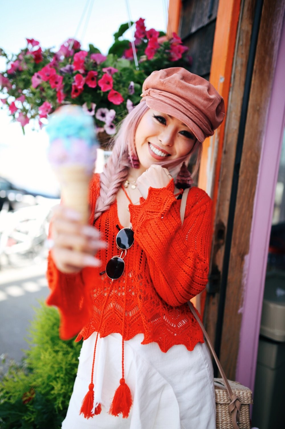 River Island Pink cord baker boy hat-Pink ombre tassel drop earrings-Red crotchet knit tassel crop top-White frill denim skort-White scallop block heel sandals-Shein Straw box bag with pom pom-Aikas Love Closet-Seattle Style Fashion Blogger-Japanese-Pink Hair-Side fishtail braid-summer style-smile-Ice Cream 5