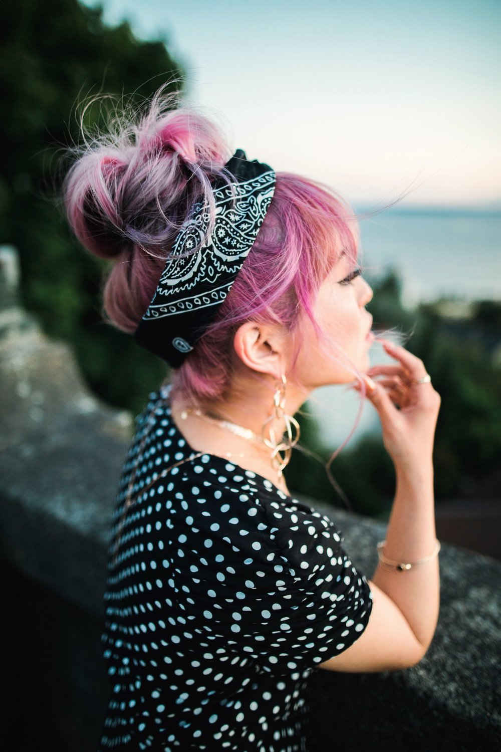 ASOS Polkadot Romper_Urban Outfitter Bandana_Zara Statement Earrings_H&M White Crossbody Bag_ShoeDazzle Yellow Lace up Wedge Sandals_Aikas Love Closet_Seattle Fashion Style Blogger_Japanese_Pink Hair_Street Snap_Summer Style_Messy bun updo 2