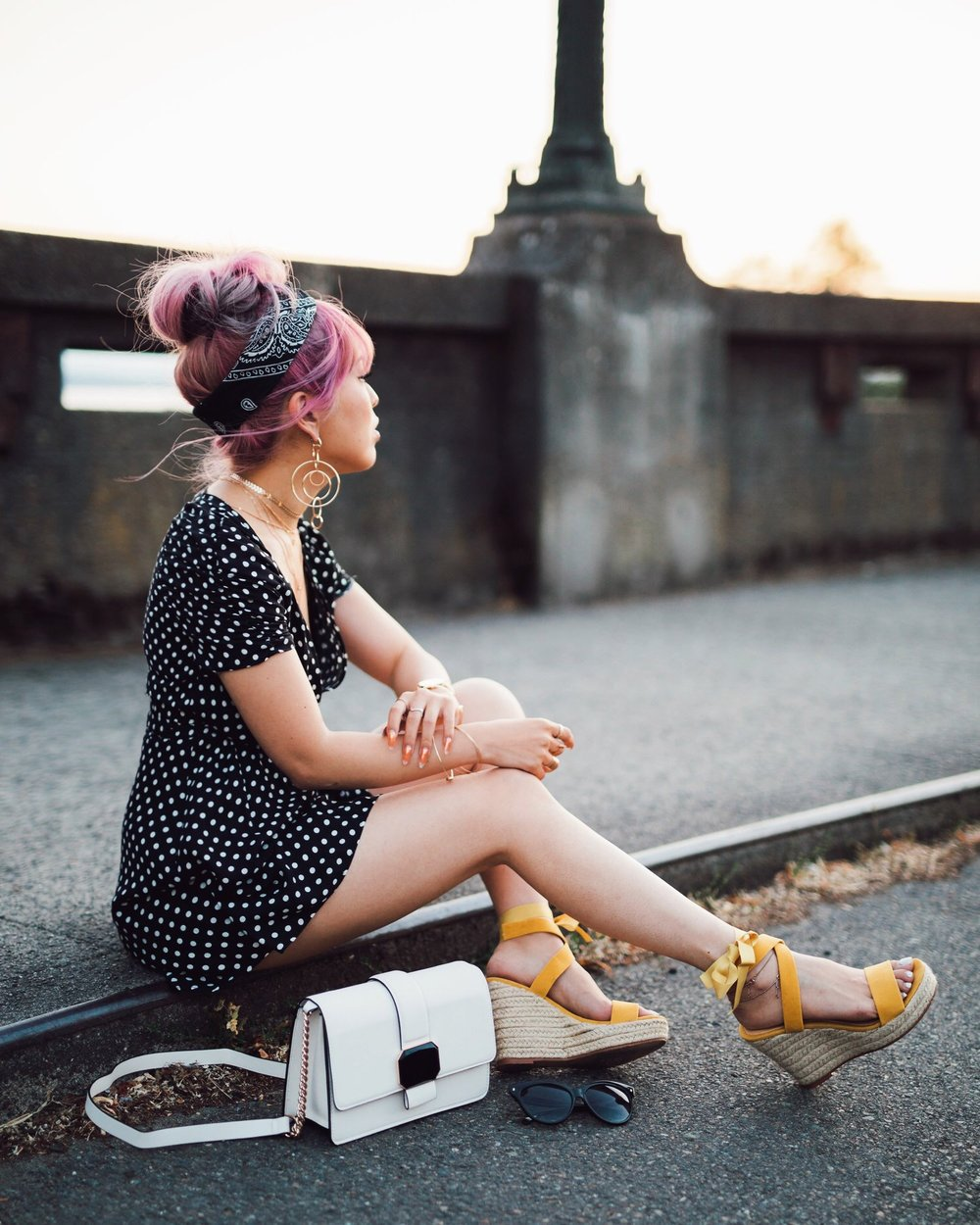 ASOS Polkadot Romper_Urban Outfitter Bandana_Zara Statement Earrings_H&M White Crossbody Bag_ShoeDazzle Yellow Lace up Wedge Sandals_Aikas Love Closet_Seattle Fashion Style Blogger_Japanese_Pink Hair_Street Snap_Summer Style