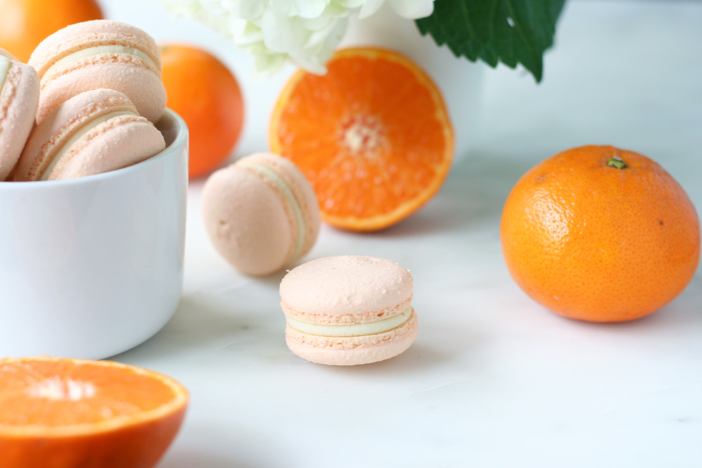 orange white chocolate macarons | sarah makes stuff