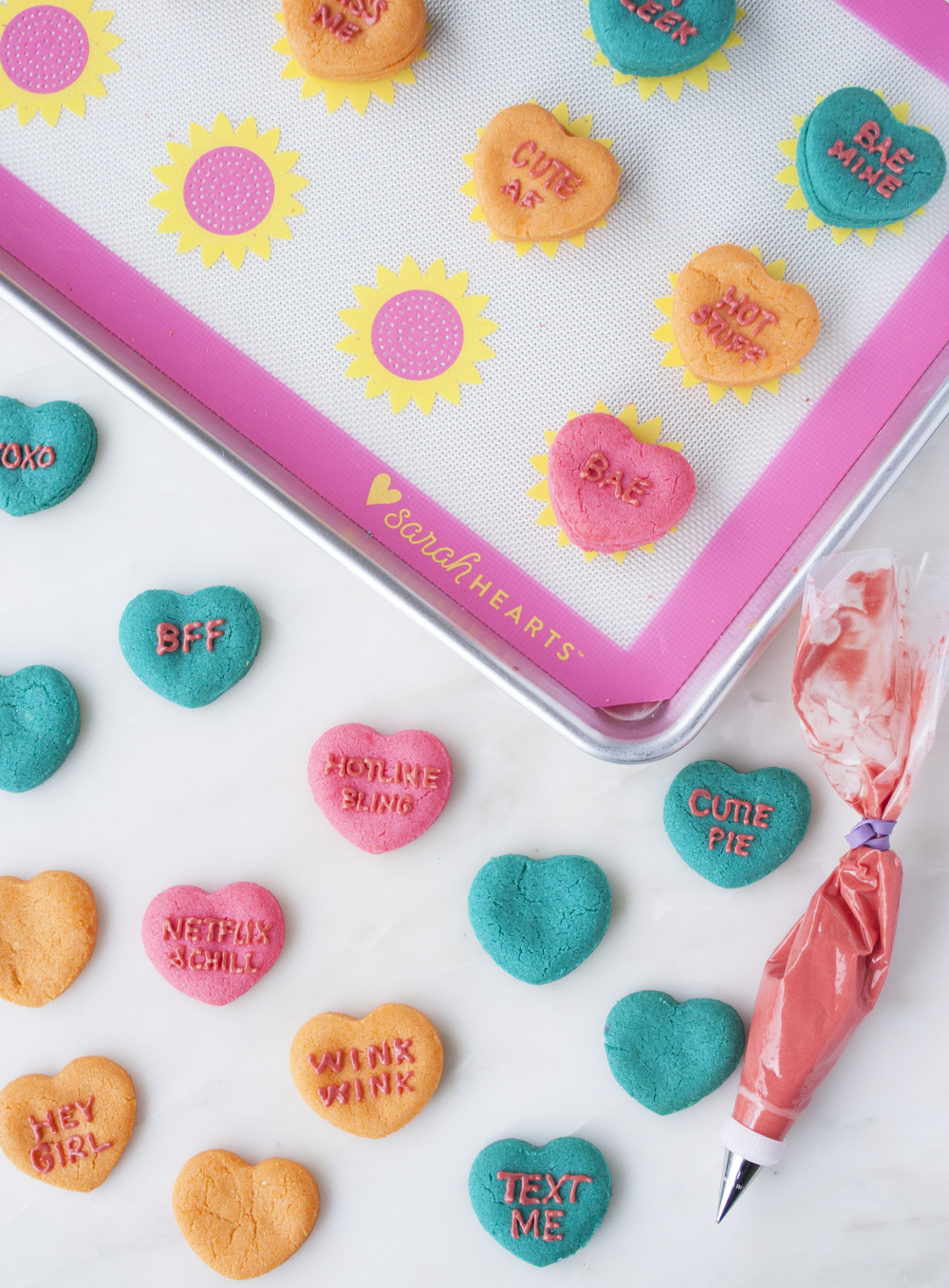 conversation heart sandwich cookies | sarah makes stuff