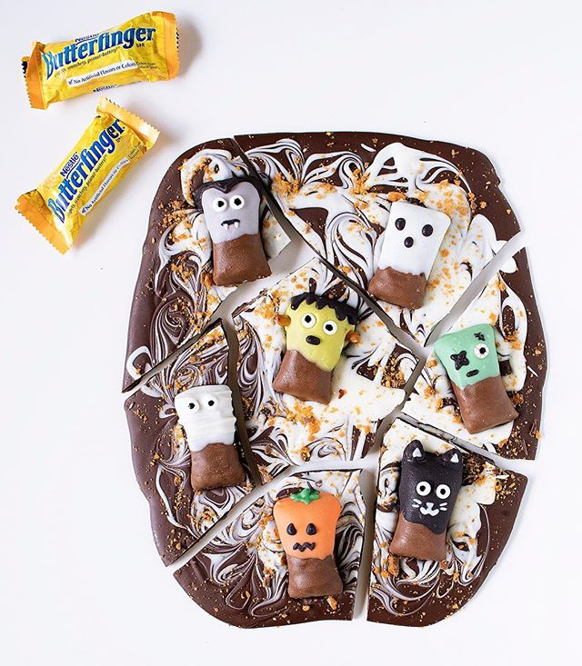 #ad This Halloween Butterfinger Bark with @butterfinger monsters is the perfect treat for your own little monsters this Halloween! 🎃🍫