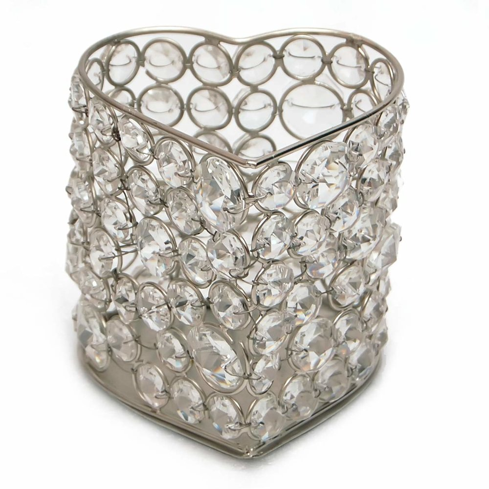 Crystal Silver Heart Candle Holder