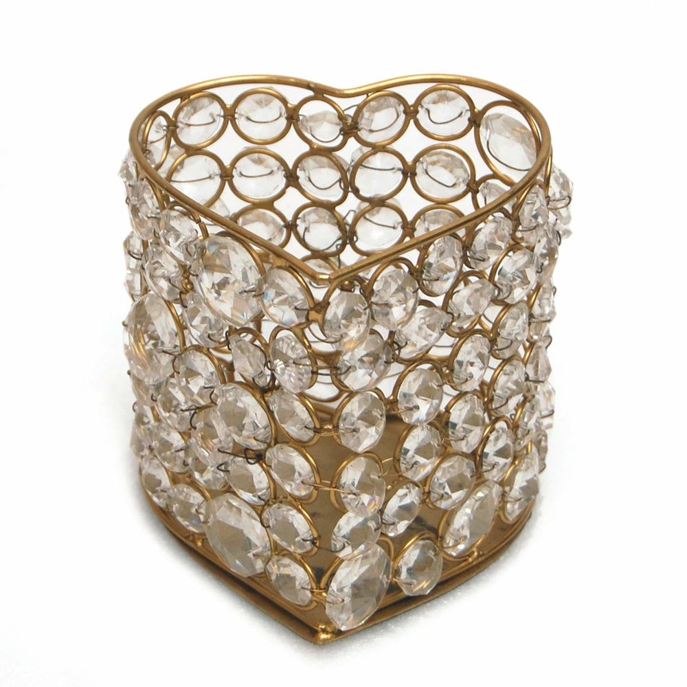 Crystal Gold Heart Candle Holder