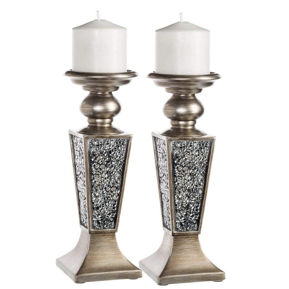 Silver Cracked Glass Pilar Set