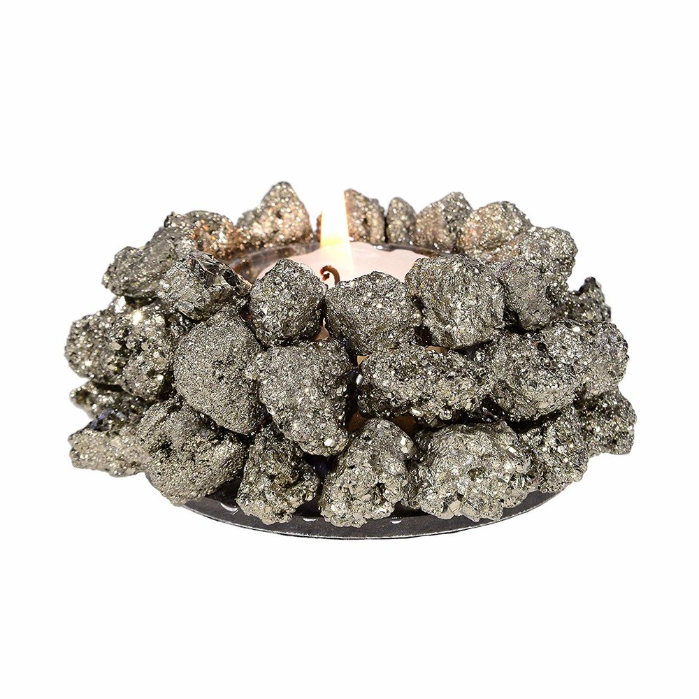 Natural Pyrite Candle Holders