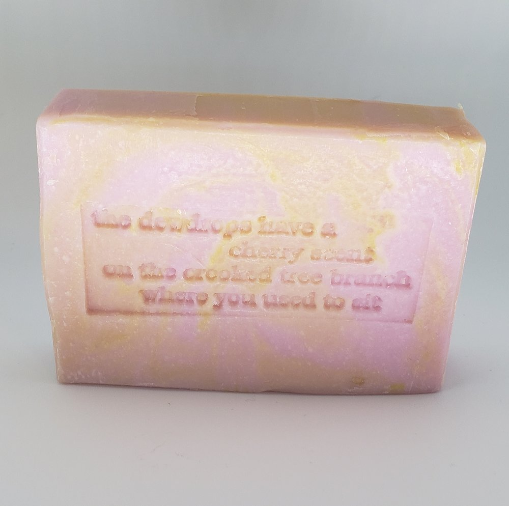 Kyra McNally Alber's Poem embedded on a bar of    Cranberry Fig Soap   .