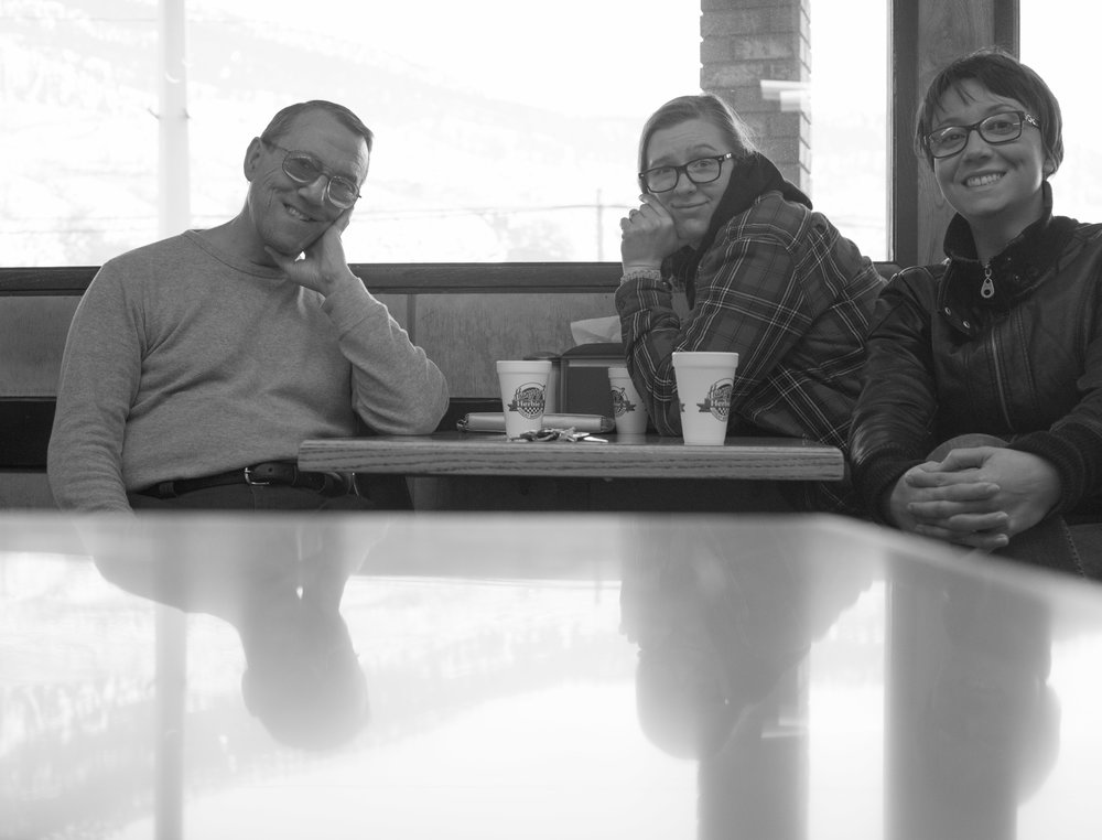 My dad, Natalie and I stopped at this awesome chicken place. Can't remember what it's called, but definitely go there.