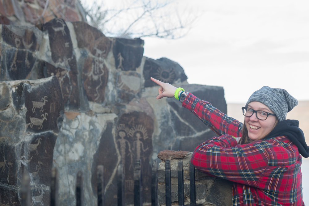 Natalie getting enthusiastic about these ancient paintings at the Ginko Petrified Forest near Ellensburg.