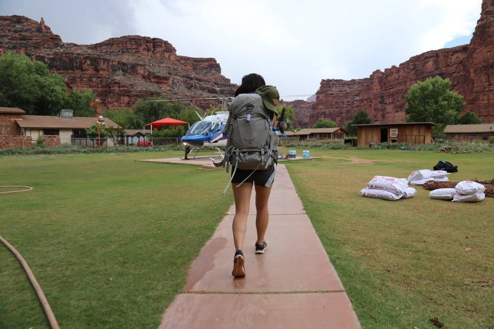 Taking the helicopter out of Supai Village