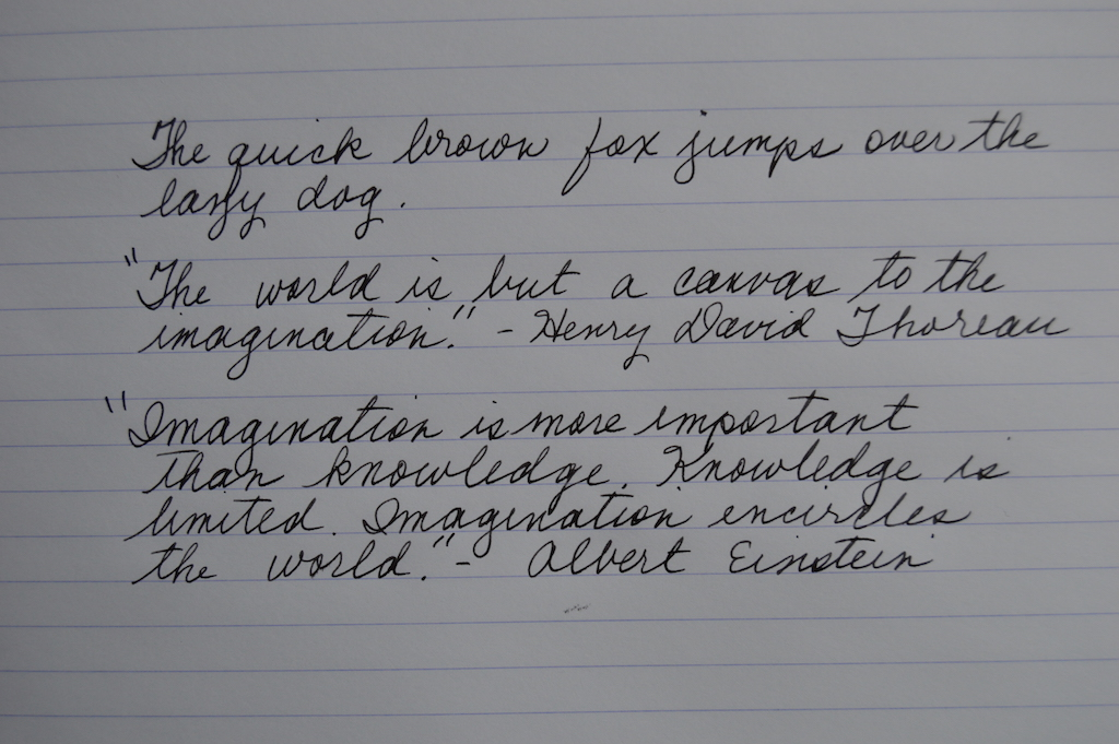 Pelikan 4001 Brilliant Black Writing Sample