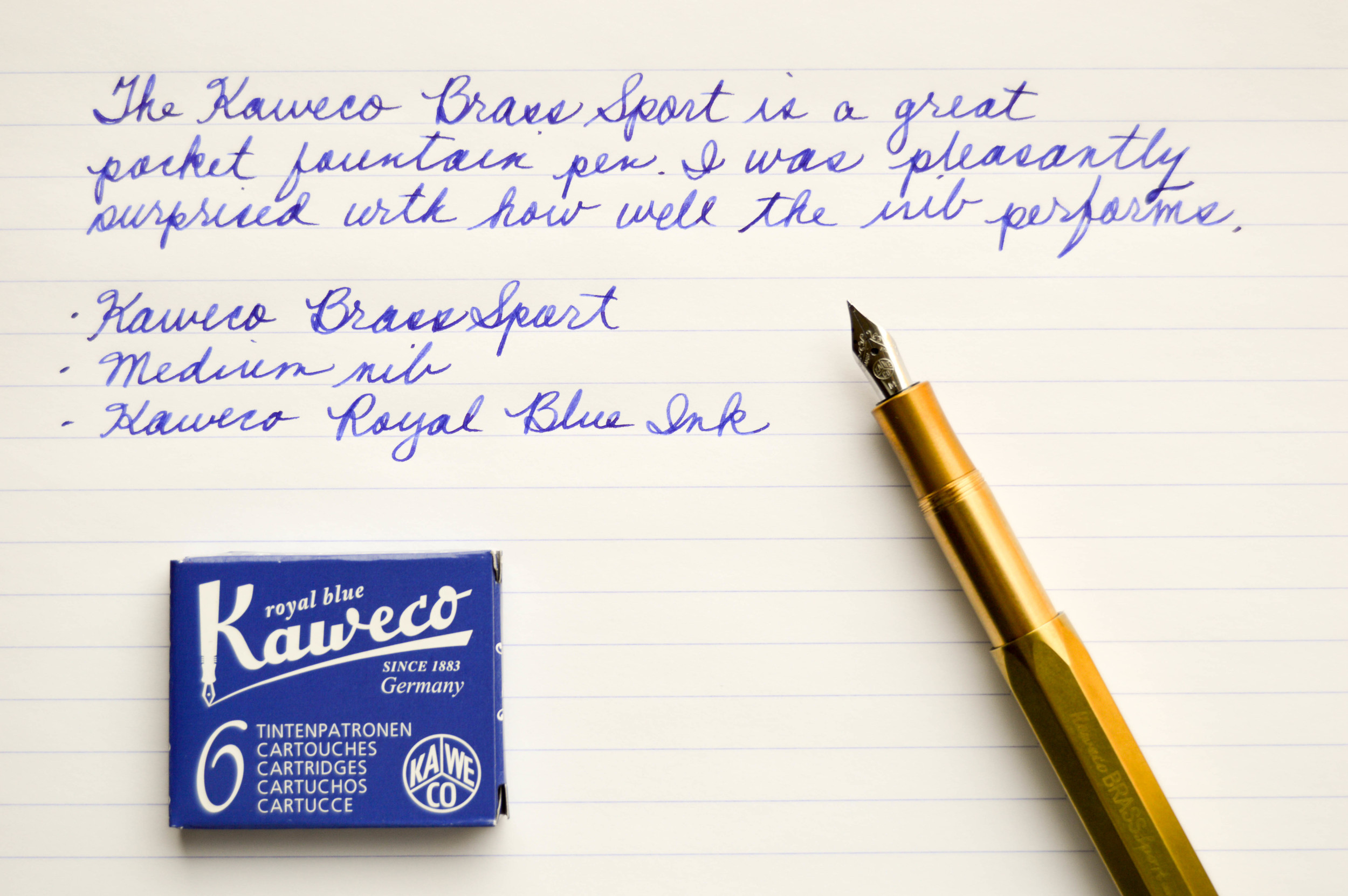 Writing sample using Kaweco Royal Blue.