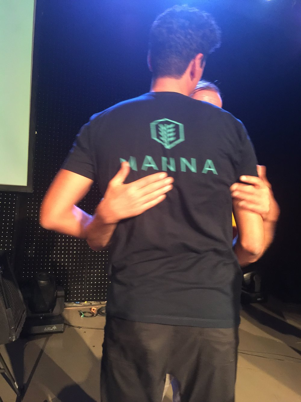 """Hugging it out"" after explaining Wim's influence on the Manna program."