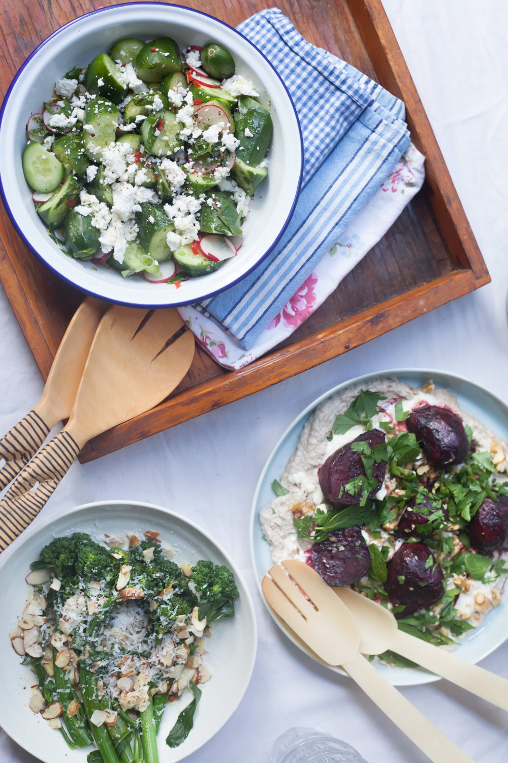 salads, beetroot, cucumber, feta