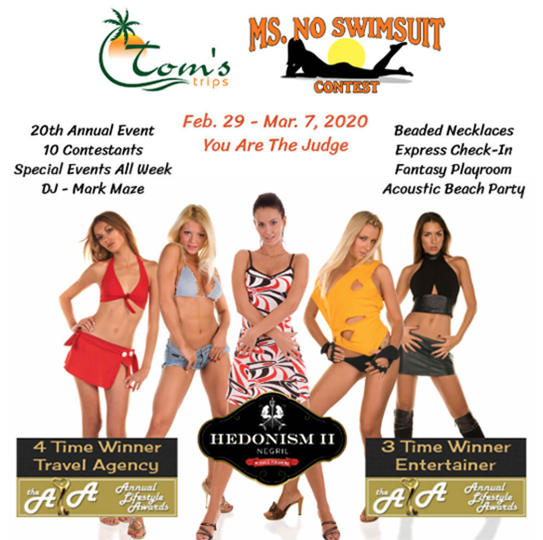 Ms No Swimsuit - We have been going to this week for over 16 years. Our Ms Naughty won in 2018! Come cheer on this year's contestants and you can even vote for the winner.