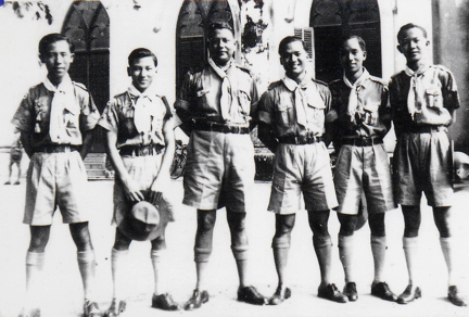 My father (extreme right) when he was a King Scout with other patrol leaders and the legendary Black Bear (third from left)