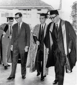 Inaugural opening of the Faculty of Dentistry (1966) .  Dean Tay (extreme right) with the Minister of Education, Mr. Ong Pang Hoon (second from left), and Deputy Vice Chancellor, Dr. Reginald Quahe (third from left)