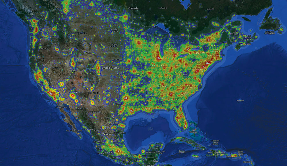 Light pollution mapped through levels of impact, with white being most intense: city/inner city sky