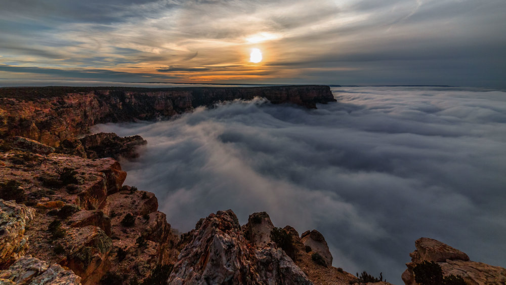 On rare occasions, the Grand Canyon fills with thick clouds