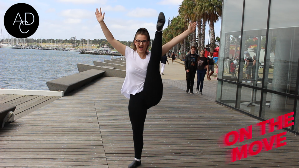 Maddie high-kicking her way into our  On The Move  promo video.