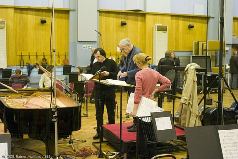 with Pierre Boulez & Pierre-Laurent Aimard - Abbey Studios London (Bartók recording) © Rainer Maillard.jpg
