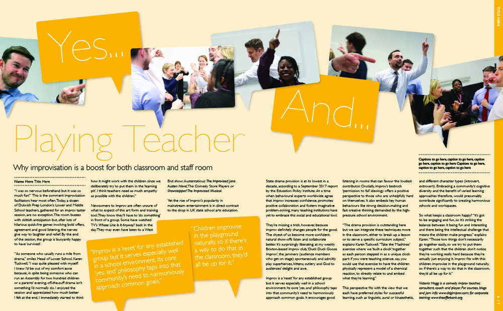 Article published in the school quarterly magazine of Dulwich Prep London.