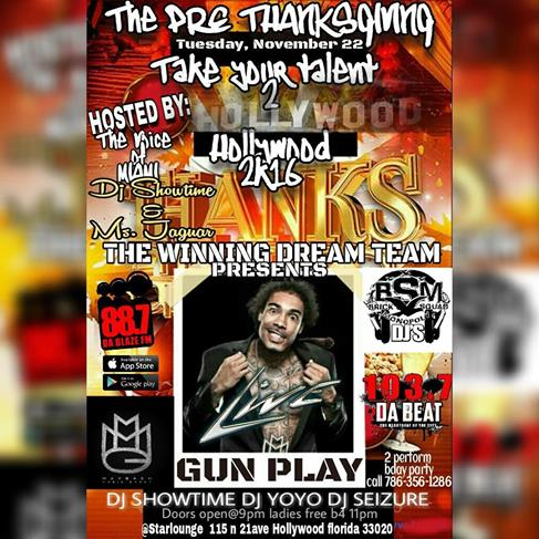 "You Heard It Right !!!! Hip Hop Icon Gun Play stops by The Star Lounge on Tuesday November 22nd for The Pre Thanksgiving Eve Event ""Take Your Talent 2"" featuring the sounds of DJ ShowTime, DJ YoYo and DJ Seizure.  This event is selling out fast. Grab Your Tickets Today !!!!!!"