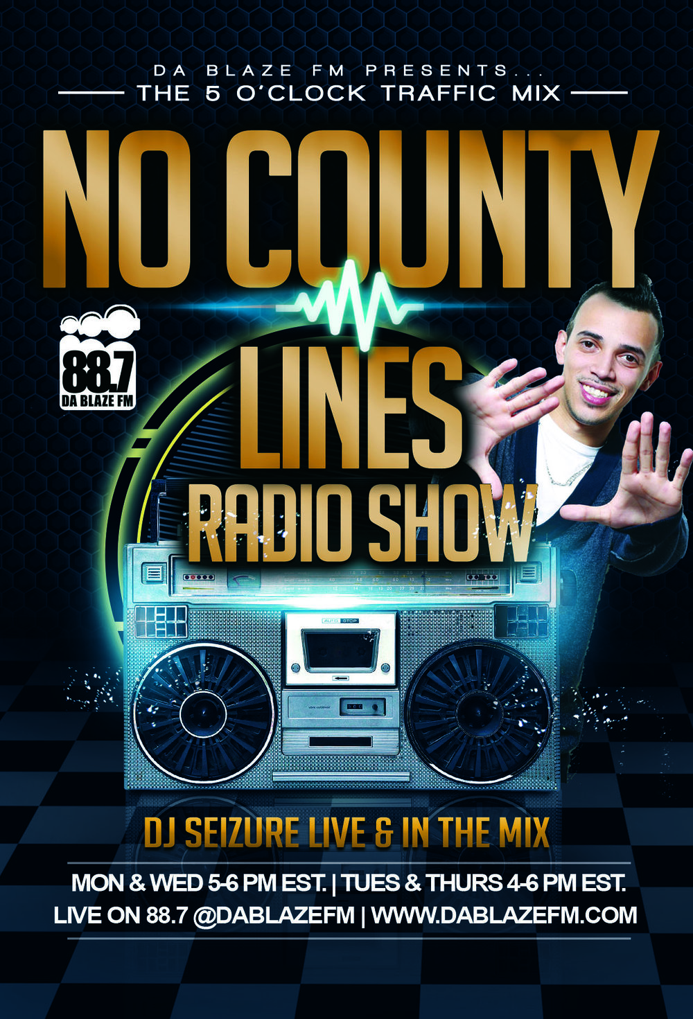 Tune in weekdays Mondays - Fridays 5-6 PM to the No County Lines Traffic Mix on 88.7 FM, Da Blaze FM! Tune in below!