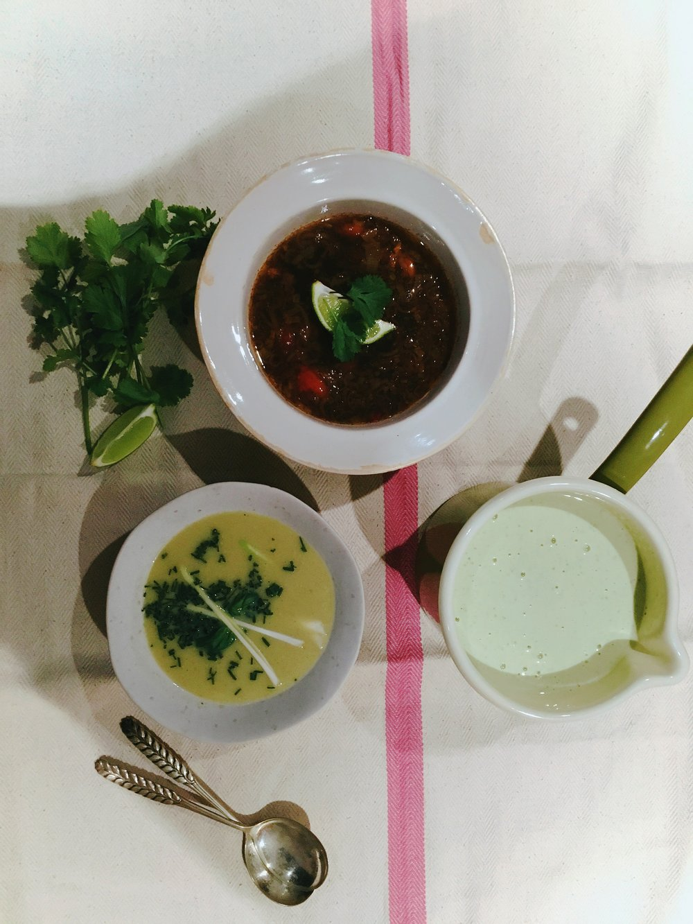 Soups, including a cucumber + coconut soup which I am addicted to
