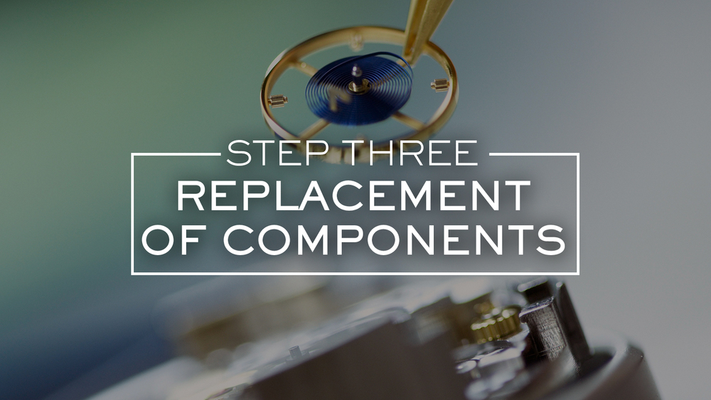 A Rolex watchmaker closely examines each individual component of the movement and identifies which components require placement. Only genuine replacement parts supplied directly by Rolex Headquarters in Switzerland are used.