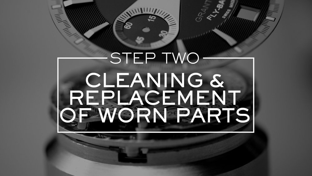 The movement is also disassembled and each of its components carefully ultrasonically cleaned. The components of the movement are meticulously examined and those that are worn or damaged are replaced by genuine Tudor replacement parts.