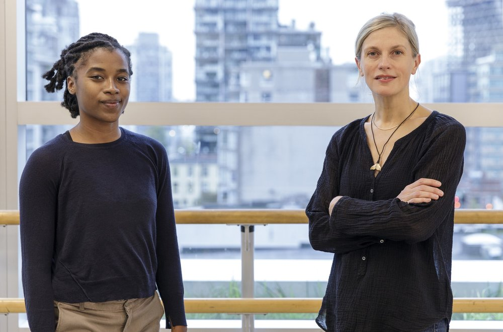 Crystal Pite, mentor in dance, with her protégée Khoudia Touré