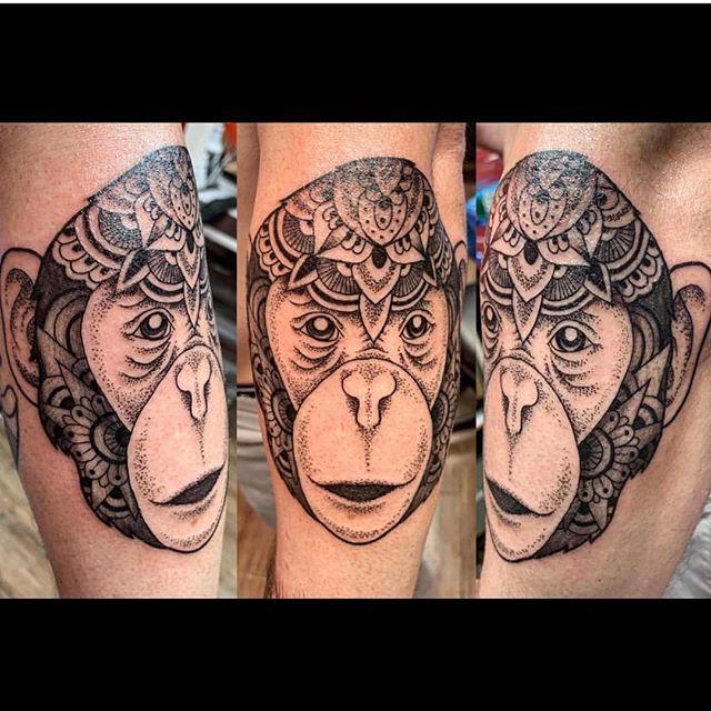 ❤️ #mandalatattoo #animalmandala #monkeytattoo #thebesttattooartists #inkedmag #tattoobyyoung
