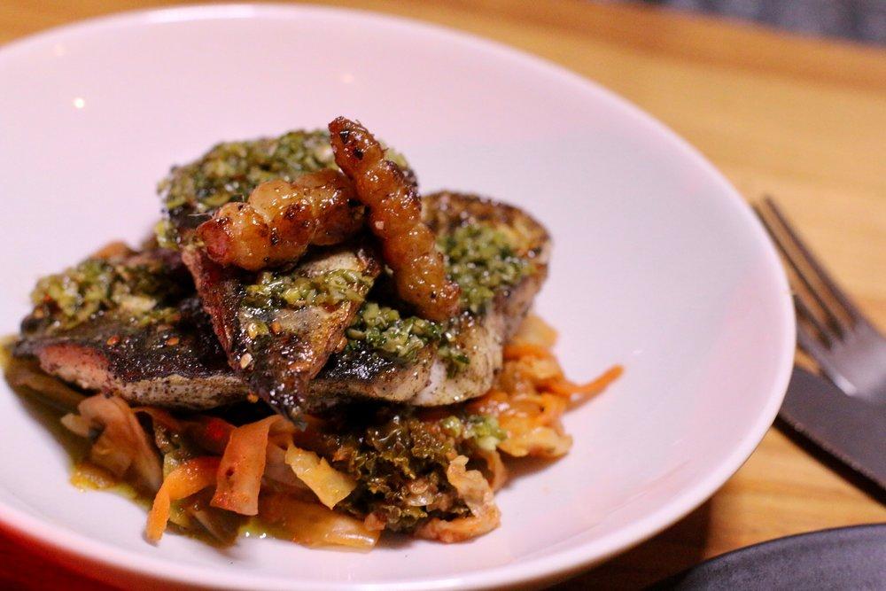 Mackerel with Kimchi and Salsa Verde